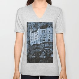 Medieval castle in the pilgrimage town of Rocamadour Unisex V-Neck