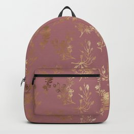 Mauve pink faux gold wildflowers illustration Backpack