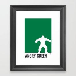 My Superhero 01 Angry Green Minimal poster Framed Art Print