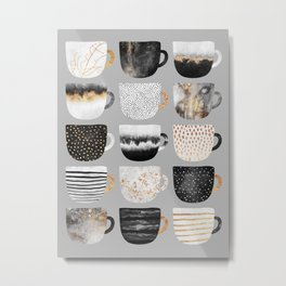 Pretty Coffe Cups 3 - Grey Metal Print