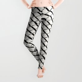 Modern Diamond Lattice 2 Black on Light Gray Leggings