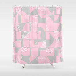 Blush and Gray Typographical Fragments Cheater Quilt Shower Curtain