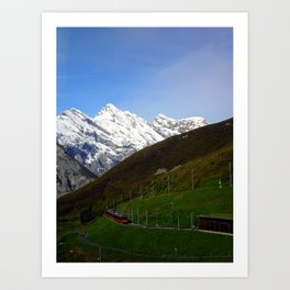 Switzerland: Jungfrau Mountains and Trains Art Print