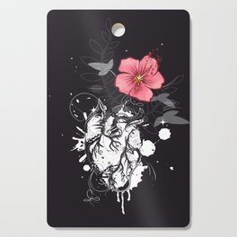 Anatomical heart with flower Cutting Board