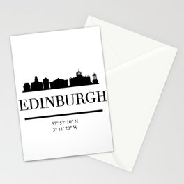 EDINBURGH SCOTLAND BLACK SILHOUETTE SKYLINE ART Stationery Cards