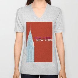 New York City, New York - Skyline Illustration by Loose Petals Unisex V-Neck