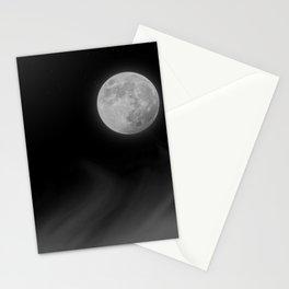 Moon Sky // La Luna in the Dark Night Clouds Stars Full Glowing Dream Like Fantasy Stationery Cards