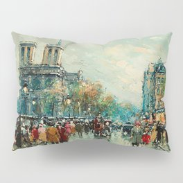 Notre-Dame Cathedral, City Streets of Paris by Antoine Blanchard Pillow Sham