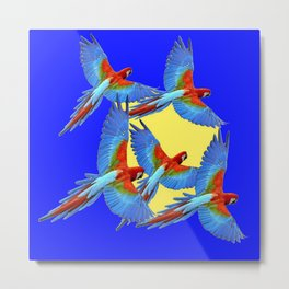 DECORATIVE FLOCK OF BLUE MACAWS & YELLOW Metal Print