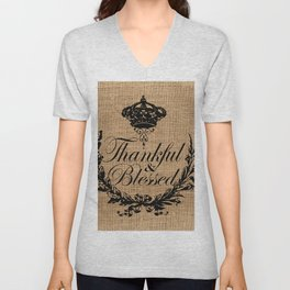 french country jubilee crown thanksgiving fall wreath beige burlap thankful and blessed Unisex V-Neck