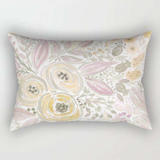 Watercolor . Flower meadow . 1 Rectangular Pillow