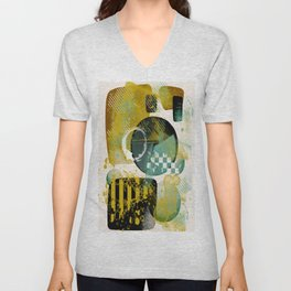 abstract design golds and sea glass 2 Unisex V-Neck