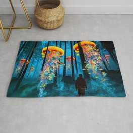 Electric Jellyfish Worlds in a New Blue Forest Rug