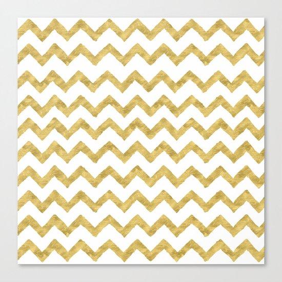 Chevron Gold And White Canvas Print