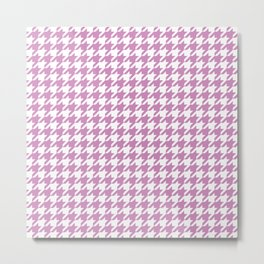 Violet Purple Houndstooth Pattern Metal Print