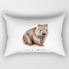 I might look cute, but I bite Rectangular Pillow
