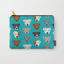 Pitbull faces dog art dog pattern pitbulls cute gifts for rescue dog owners Carry-All Pouch