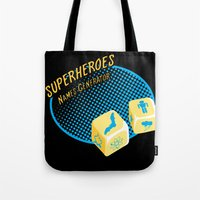 super heroes Tote Bags featuring Super-Heroes-Name-Generator by sergio37