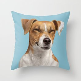 Smiling Dog (Jack Russell) Throw Pillow