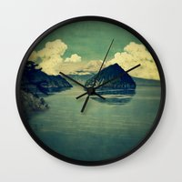 blues Wall Clocks featuring Distant Blues by Kijiermono