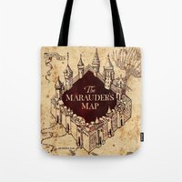 marauders Tote Bags featuring MARAUDERS MAP by Graphic Craft