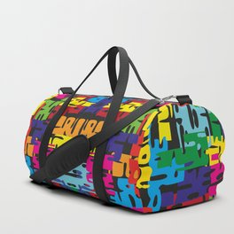 Bright pattern of puzzle pieces. Summer background for decoration of fabric and postcards with neon Duffle Bag