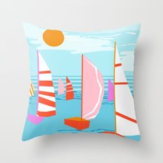 Quepasa - memphis throwback retro minimal modern neon boating yacht club sailing summer sport Throw Pillow