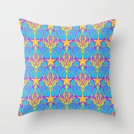 Starfire Kaleidoscope (Apollo Flame) Throw Pillow