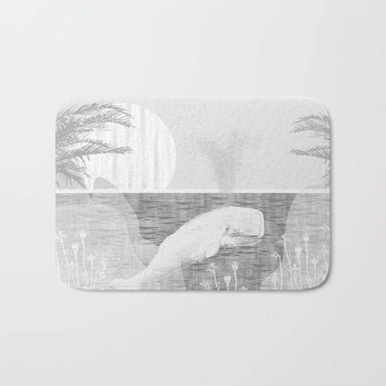 Tropical Black and White Vintage Whale Design Bath Mat