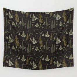 Fern pattern black Wall Tapestry