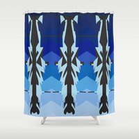 ships Shower Curtains featuring Dazzle blue ships by Gun Shy