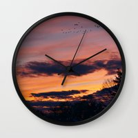 twilight Wall Clocks featuring Twilight by Stephen Linhart