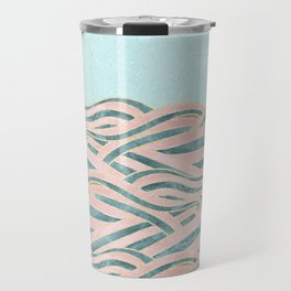 Venetian Waves // Vintage Abstract Pink Blue and Gold Summer Illustration Digital Beach Wall Decor Travel Mug