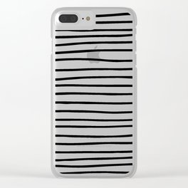 Modern simple trendy black white striped pattern Clear iPhone Case