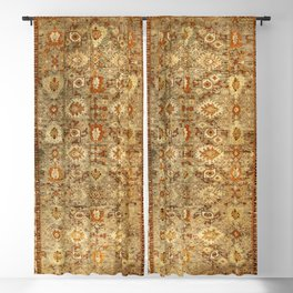 Antique Turkish Oushak Rug Print Blackout Curtain