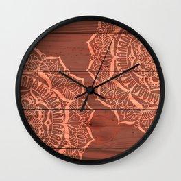 Wood Panel Mandalas Wall Clock