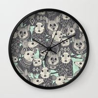 sweater Wall Clocks featuring sweater mice mint by Sharon Turner