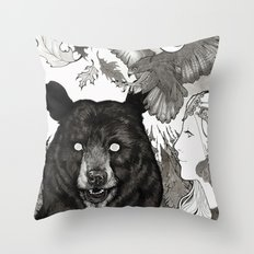 Bear, wolf, pike and falcon Throw Pillow