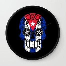 Sugar Skull with Roses and Flag of Cuba Wall Clock