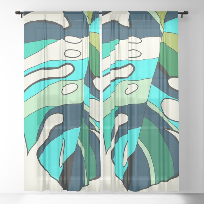 Blue cool monstera plant Sheer Curtain