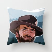 clint eastwood Throw Pillows featuring Eastwood by Matt Fontaine Creative