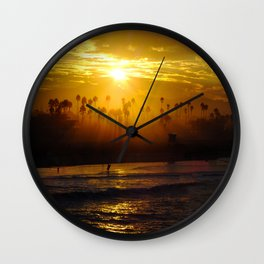 Misty Sunrise * Huntington Beach, California Wall Clock