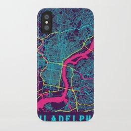 Philadelphia Neon City Map, Philadelphia Minimalist City Map iPhone Case