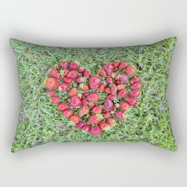 Heart made of strawberries with grass in the background Rectangular Pillow