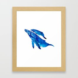 Humpback Whale Mother and Calf Framed Art Print