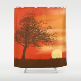 Faded Orange Sunset Shower Curtain
