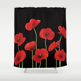 Poppies Flowers red black background Shower Curtain