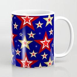 christmas pattern red star, gold stars,blue shiny background Coffee Mug