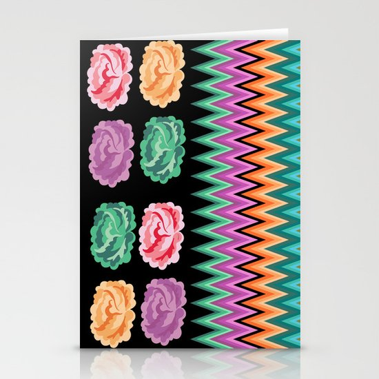 CHEVRON ROSES Stationery Cards