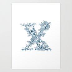 Letter 'X' Monochrome Art Print